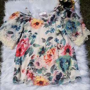 Floral Blouse 3/4 Sleeve Sz. Small NWT
